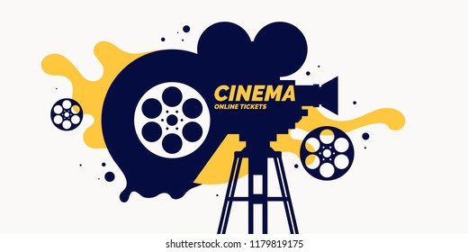 Bright poster with an old movie camera in the background. Vector illustration.