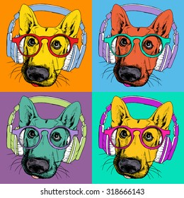 Bright poster with portrait of a German Shepherd with headphones and glasses in the style of pop art. Vector illustration.
