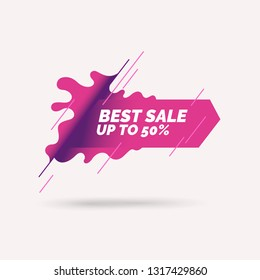 Bright poster Sale with splashes. Vector illustration in flat style.