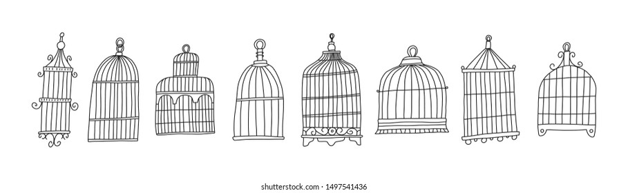 Bright poster set cage bird sketch hand drawn. Metal cages for birds of different sizes. Simple construction.  Beautiful variety of products for keeping at home. Vector illustration.