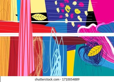 Pochette lumineuse formes et segments abstraits inhabituels