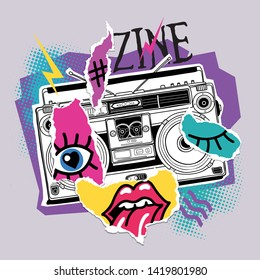 Bright poster in a Zine Culture style. Vintage Recording equipment, portable boombox, radio, player recorder with paper collage. Humor t-shirt composition, hand drawn style print. Vector illustration.