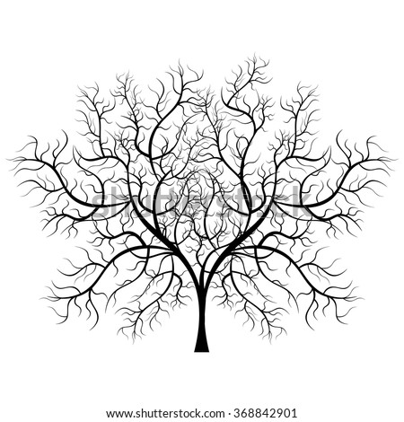 a6fbcd1c568 Bright pretty color vector graphic illustration of one growing bare black  tree on white background