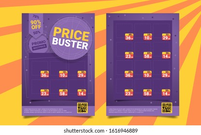 Bright price buster, promo best price, cartoon. Search for low prices, product overview, discounts and promotions. Convenient price for seasonal promotion or sale on trendy colored background.
