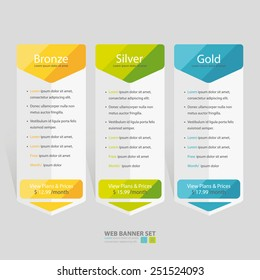 Bright pricing table, banner, order, box, button, list and bullet with plan for website.