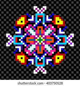 bright psychedelic mandala of the pixels on a black background