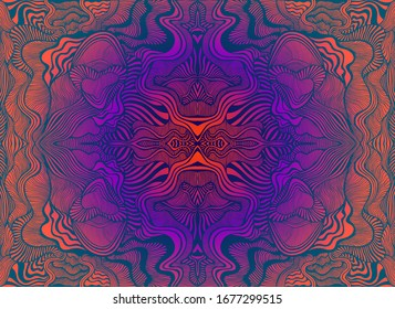 Bright psychedelic trippy fractal mandala, gradient orange pink violet blue color  background. Decorative surreal flower pattern. Vector hand drawn trance illustration.