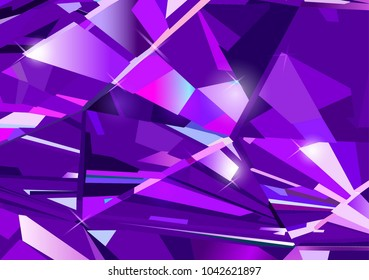Bright purple abstract background made of blue crystals. Vector design.