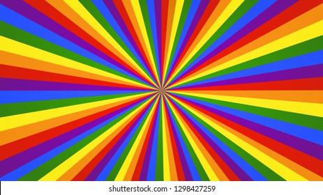 Bright rainbow background. Colorful vivid rays backdrop.