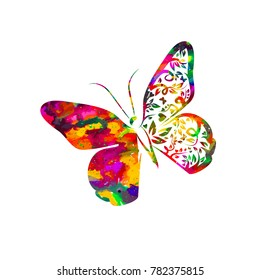 Bright rainbow butterfly abstract