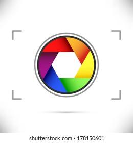 Bright rainbow camera shutter diaphragm. Vector illustration