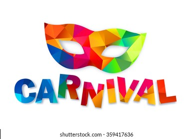 Bright rainbow colors vector carnival mask and sign