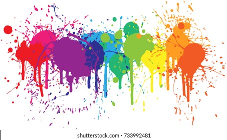 Bright rainbow of dripping paint splatters