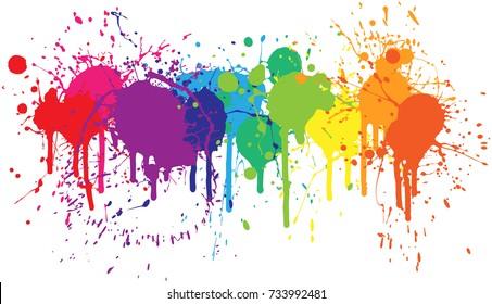 Bright rainbow of dripping paint splatters