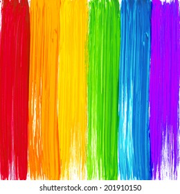 Bright rainbow paint strokes vector background