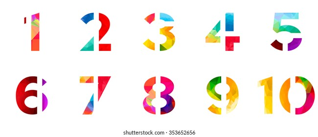 Bright rainbow polygon number alphabet colorful font style. one 1 two 2 three 3 four 4 five 5 six 6 seven 7 eight 8 nine 9 ten 10 zero 0 digits. vector illustration. 3d geometric numeral set design.