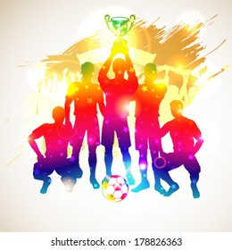 Bright Rainbow Silhouettes Soccer Players with Cup and Fans on grunge background, vector illustration