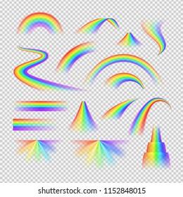 Bright rainbow spectrum realistic transparent set isolated vector illustration