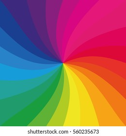 Bright rainbow swirl background. Rainbow rays of twisted spiral. Colorful vector illustration.