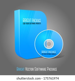 Bright realistic blue isolated DVD, CD, Blue-Ray smooth shaped case with DVD, CD disk on grey background. With place for your text and pictures. Vector