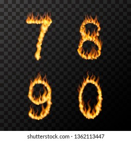 Bright realistic fire flames in 7 8 9 0 letters shape, hot font concept on transparent background