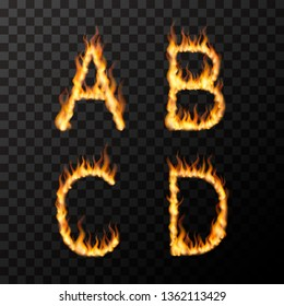Bright realistic fire flames in A B C D letters shape, hot font concept on transparent background