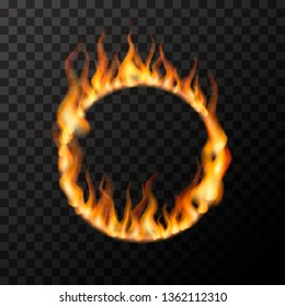 Bright realistic fire flames in circle shape on transparent background