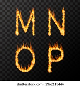 Bright realistic fire flames in M N O P letters shape, hot font concept on transparent background