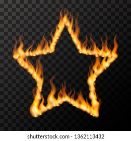 Bright realistic fire flames in star frame shape, hot love concept on transparent background