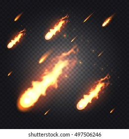 Bright realistic flying fireball, meteorite or comet with transparency isolated on checkered vector background. Special light effects for design and decoration. Fireball easy to use.