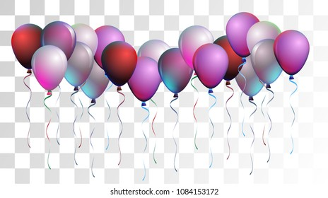 Bright Realistic Helium Vector Balloons Flying. Happy Birthday, New Year Party Ornament. Funky Hipster Holidays Background, Air Helium Balloons. Celebration, Music Poster Discount Card Cool Design