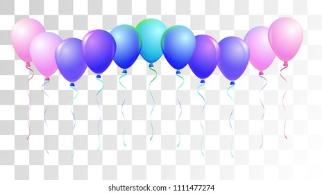 Bright Realistic Helium Vector Balloons Flying. Happy Birthday, New Year Party Confetti. Funky Hipster Holidays Background, Air Helium Balloons. Celebration, Music Poster Discount Card Cool Design