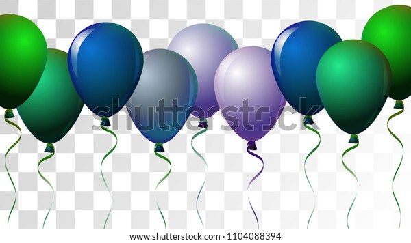 Bright Realistic Helium Vector Balloons Flying. Happy Birthday, New Year Party Decoration. Funky Hipster Holidays Background, Air Helium Balloons. Celebration, Music Poster, Discount Card Element.