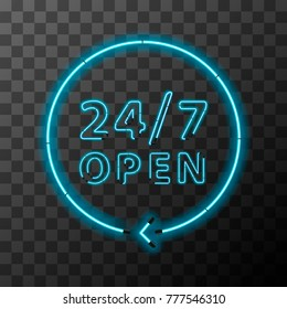 Bright realistic neon around the clock sign, 24 hours open