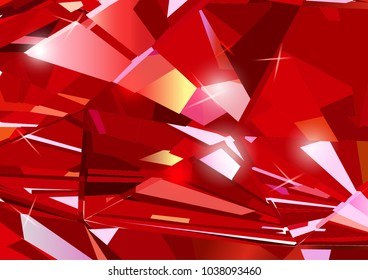 Bright red abstract background made of ruby crystals. Vector design.