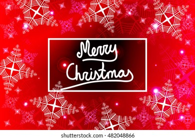 Bright red background for a Christmas card with a handwritten inscription Merry Christmas. Snowflakes. Vector illustration. For the design, printing, greeting materials.
