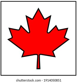 Bright red and black Canada Maple Leaf Flag background.