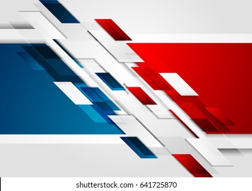 Bright red and blue contrast tech corporate background. Vector geometric design