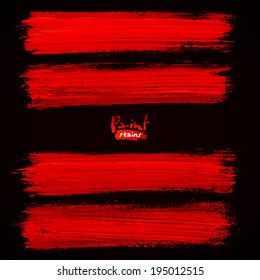 Bright red brush strokes on black background