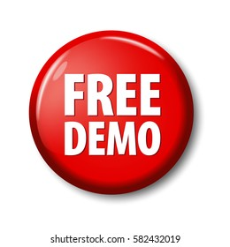 Bright red button with words 'Free Demo'. Circle label for software developers and online shops. Design elements on white background with transparent shadow.