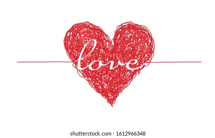 Bright red complicated lined heart with love word, mess of multicolor lines, chaos of feelings concept. Lovely symbol of two people connection for Valentines greeting card design, banner decoration
