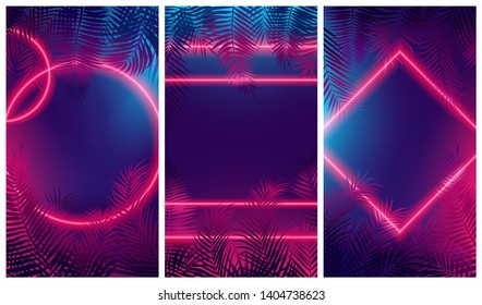 Bright red glow from geometric shapes, neon cyberpunk background with tropical leaves