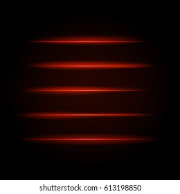 Bright red glowing lines in the dark. Neon modern stripes on a black background. Vector illustration of a night scene