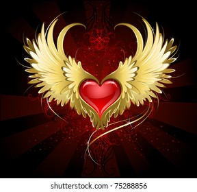 bright red heart of an angel with golden wings shining in the dark radiant red background decorated with a pattern.