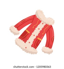 Bright red jacket with buttons, pockets and fur. Warm winter clothing. Outer garment for cold season. Flat vector design