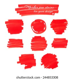Bright red marker pen spots and lines isolated on a white background for your design. Vector illustration.