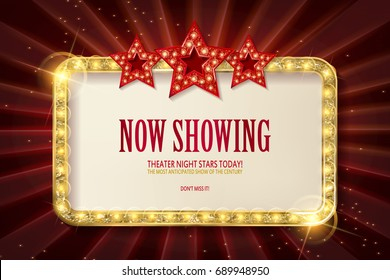 Bright red marquee with light bulbs with three stars on dark background. Very Cool for casino, cinema, disco or party advertisement. Vector illustration