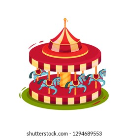 Bright red merry-go-round with blue horses. Children carousel. Amusement park theme. Flat vector icon