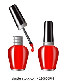 bright red nail polish in a brilliant flakone.Butylka displayed in the open and closed form.A drop of paint dripping from brush