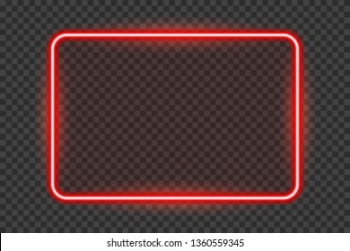 Bright red neon frame with transparent tablet isolated on a transparent background.